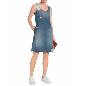 LOVE MOSCHINO NWT Distressed Denim Flare Dress 38